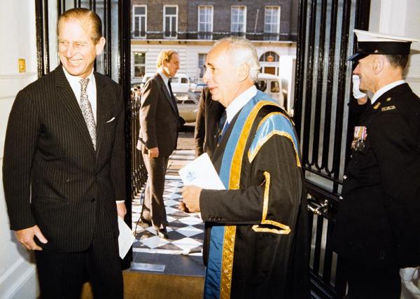 HRH The Prince Philip, Duke of Edinburgh arrives at 38 Portland Place