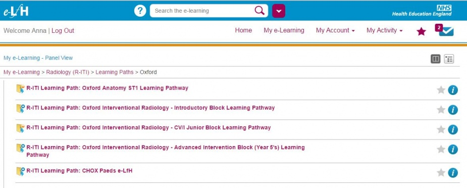 Example of a R-ITI learning pathway