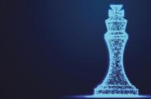 Bright blue chess piece against dark blue background