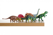 Photo of toy dinosaurs arranged on a table
