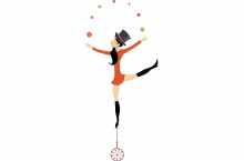 Illustration of a lady on a unicycle juggling