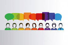 Illustration of a row of people with rainbow colour speech bubbles above