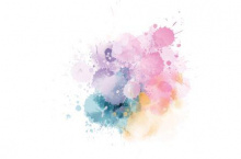 Pink, purple, blue and yellow watercolour paint splashes