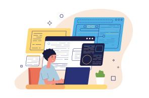 Illustration of woman at computer