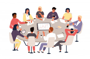 Illustration of meeting around a table
