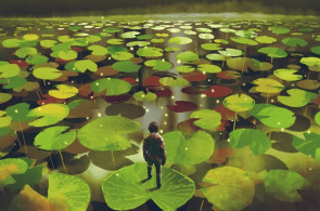 An illustration of a man crossing lily pads