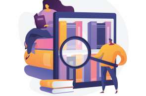 Illustration of people looking at books through a screen