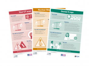 Fan image of three patient information posters produced by the Clinical Imaging Board
