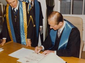 HRH The Prince Philip, Duke of Edinburgh signs the RCR Fellowship Roll
