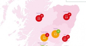 Map of number of radiologists by region in Scotland