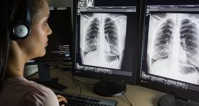 Radiologist investigates chest X-rays