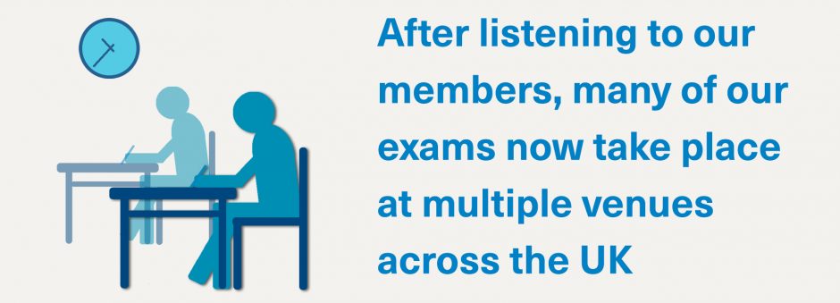 After listening to our members, many of our exams now take place at multiple venues across the UK