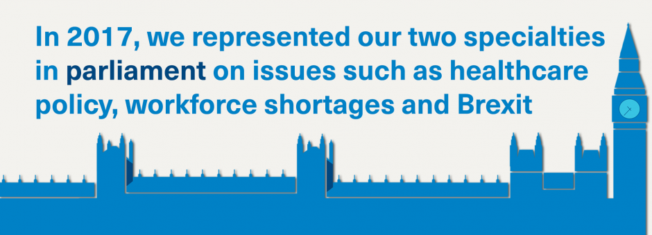 In 2017, we represented our two specialties in parliament on issues such as healthcare policy, workforce shortages and Brexit